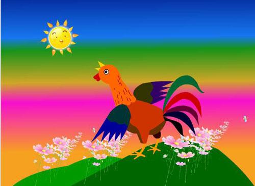 gà trống, mặt trời