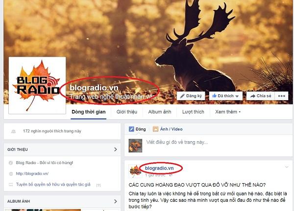 Thông báo về việc thay đổi tên fanpage chính thức của website blogradio.vn